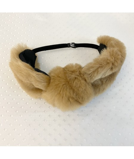 Beige Faux Fur Turban Elastic Headband
