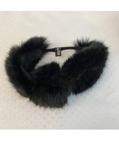 Black Faux Fur Turban Elastic Headband