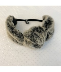 Grey Faux Fur Turban Elastic Headband