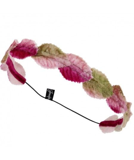 Velvet leaves garland headband - Fuchsia