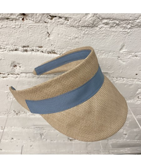 Raffia Visor with Contrast Grosgrain Band