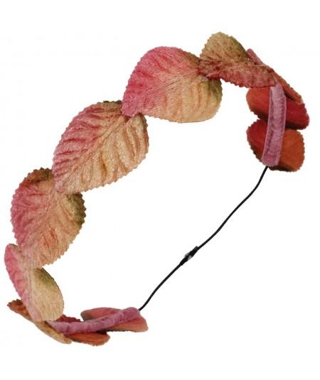Velvet leaves garland headband - Old Rose