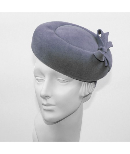 Beret Felt Headpiece on Headband - Medium Grey