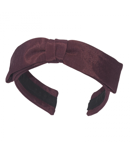Burgundy Grosgrain Texture Center Bow Headband