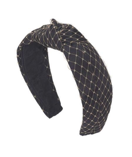 Black Grosgrain Texture with Beige Veiling Center Turban Headband