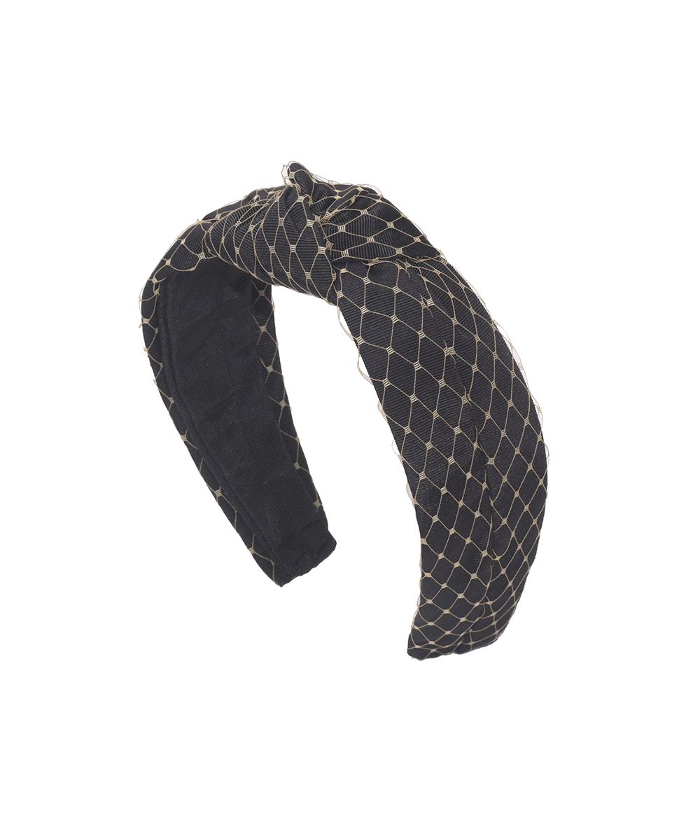 Black Grosgrain Texture with sand Veiling Center Turban Headband
