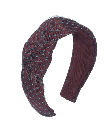 Burgundy Grosgrain Texture with Teal Veiling Side Turban Headband
