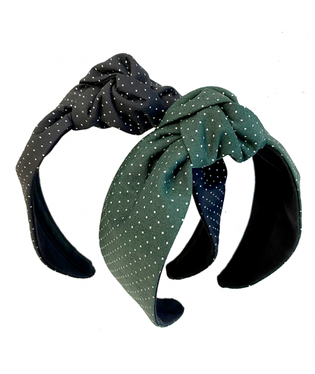 Black - Dark Green Dotted Cotton Print Blair Headband
