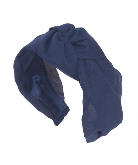 Navy Draped Chiffon Chunky Center Knot Headband