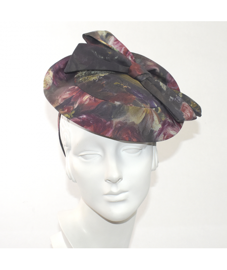 Silk Print With Large Bow Fascinator