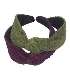 Green Dot - Burgundy Dotted Tulle Center Turban Headband