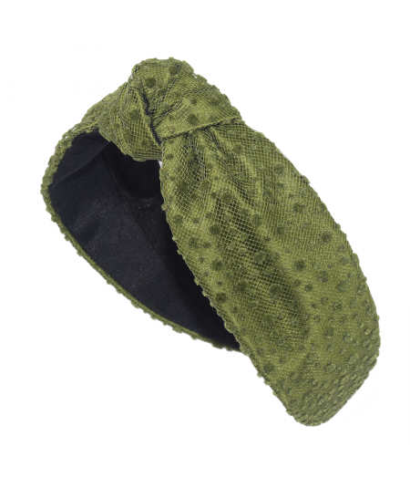 Green Dot Dotted Tulle Center Turban Headband