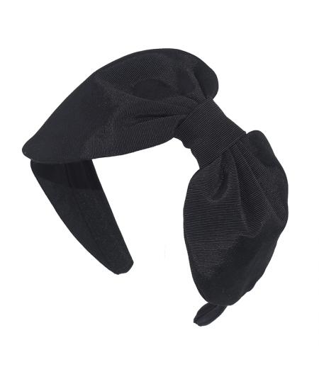 Black Grosgrain Texture Audrey Bow Headband