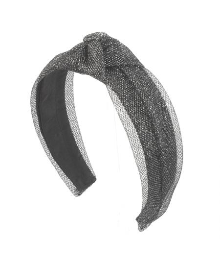 Dark Silver Metallic Tulle Turban Headband
