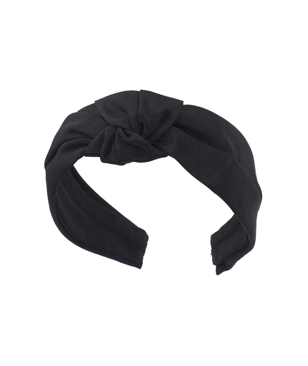 Black Grosgrain Texture Center Turban Headband