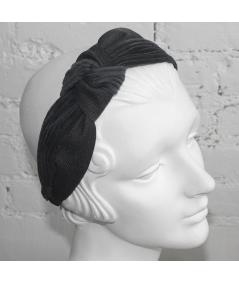 Navy Indigo Corduroy and Denim Side Turban Headband