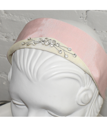 Pale Pink with Ivory Grosgrain Texture with Sparkle Detail Princess Headband