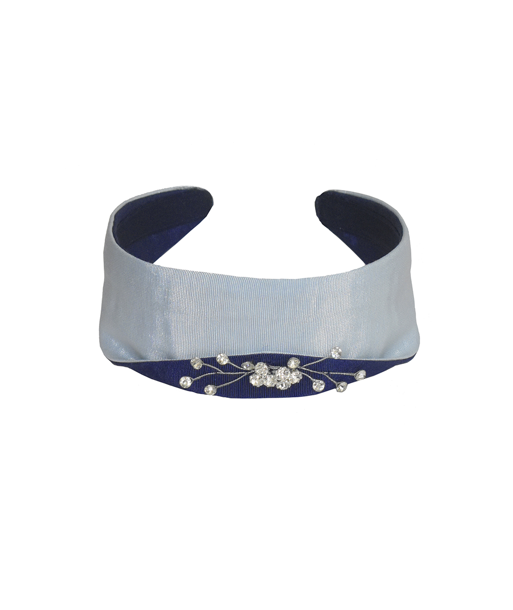 Pale Blue with Navy Grosgrain Texture with Sparkle Detail Princess Headband