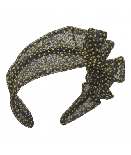 Black with Yellow Flocked Tulle Side Ruffle Headband