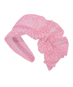 Pink with White Flocked Tulle Side Ruffle Headband