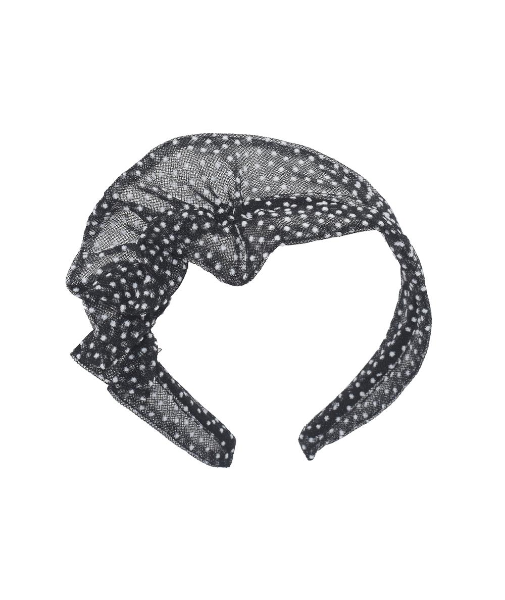 Black with White Flocked Tulle Side Ruffle Headband