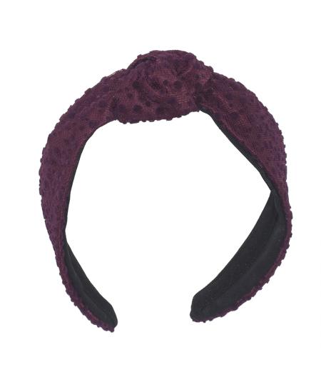 Berry Dotted Tulle Center Turban Headband