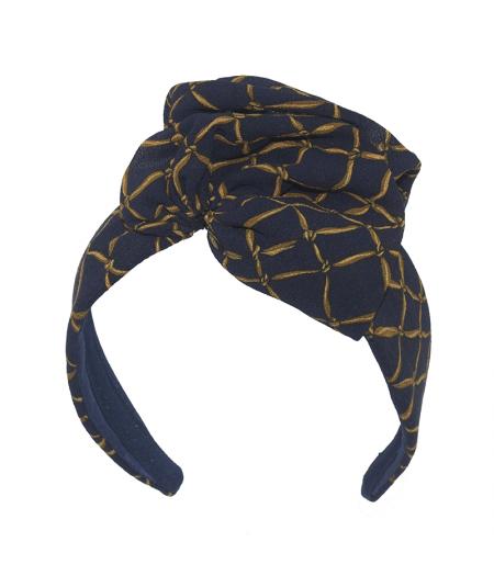 Navy Rope Silk Chiffon Flower Headband