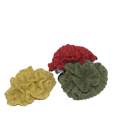 Yellow - Red - Green Ruffle Flower Dotted Tulle Barrette