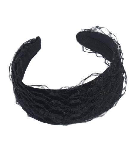 Black Velvet and Veiling Basic Headband