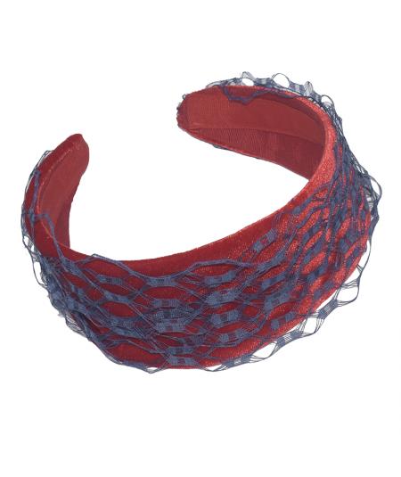 Red Velvet and Blue Veiling Basic Headband