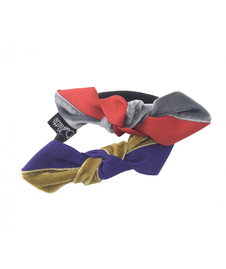 Red with Gris Fonce - Purple with Nuss Combo Two-Tone Knot Ponytail Elastic