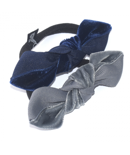Navy with Navy - Grey with Gris Fonce Two-Tone Knot Ponytail Elastic