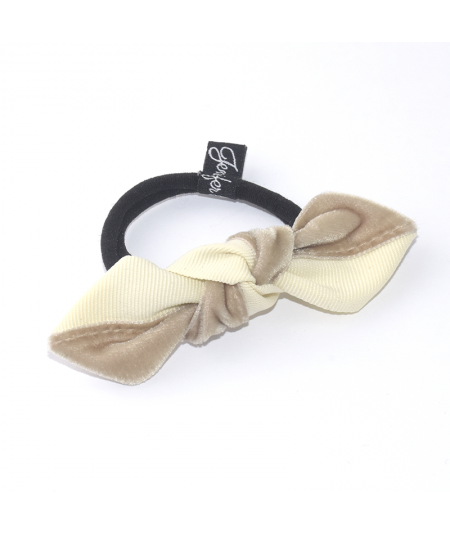 Cream with Earth Two-Tone Knot Ponytail Elastic