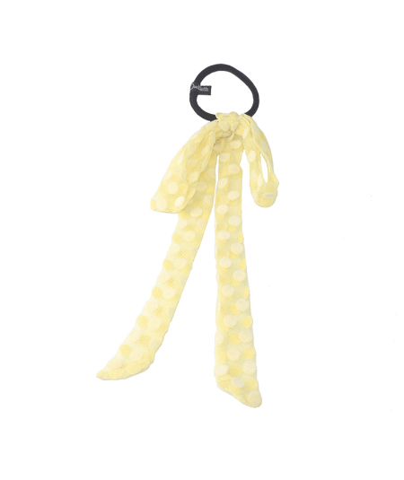 Yellow Big Dotted Tulle Long Bow Ponytail Holder