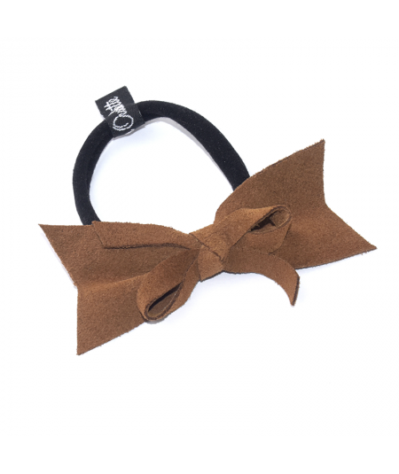 Peanut Suede Present Bow Ponytail Holder