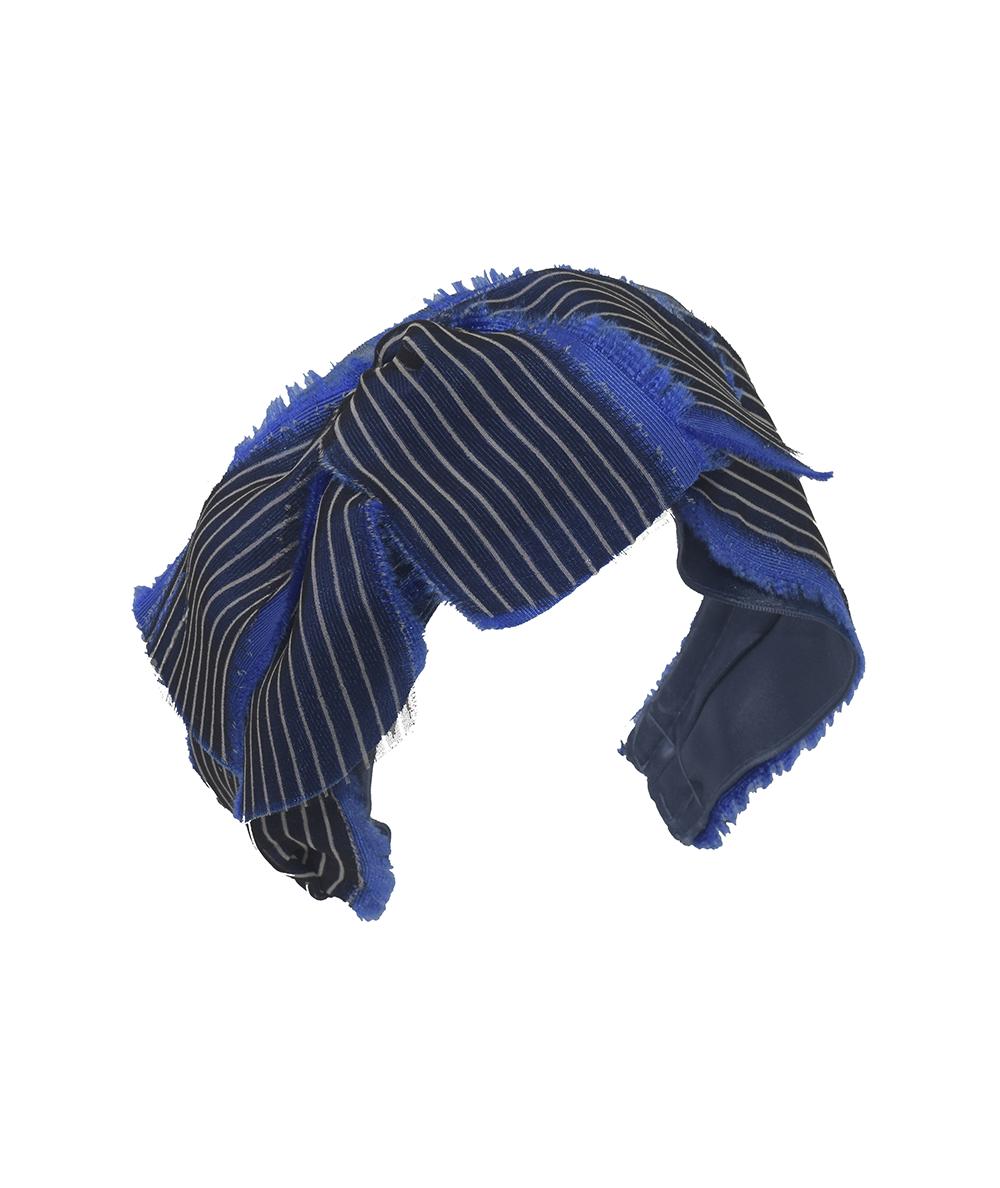Stripe Silk Chiffon Delacroix Frayed Tassel Headband