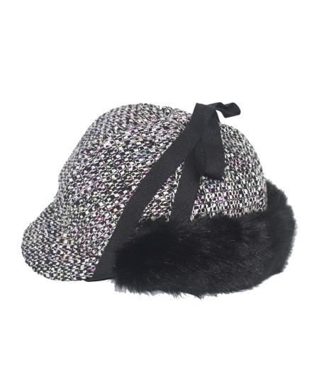 Chelsea Silk Print Cap with Black Faux Fur