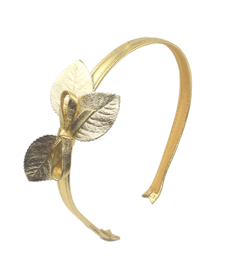 Metallic Leather Headband with Leaves and Bow