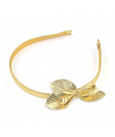 Gold Metallic Leather Headband with Leaves and Bow