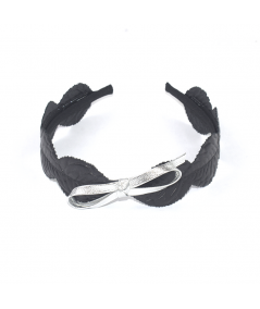 Leather Leaves Headband with Metallic Bow