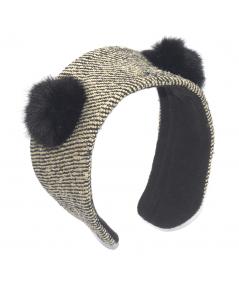 Park Avenue Silk Print Earmuff with Faux Fur Earmuff
