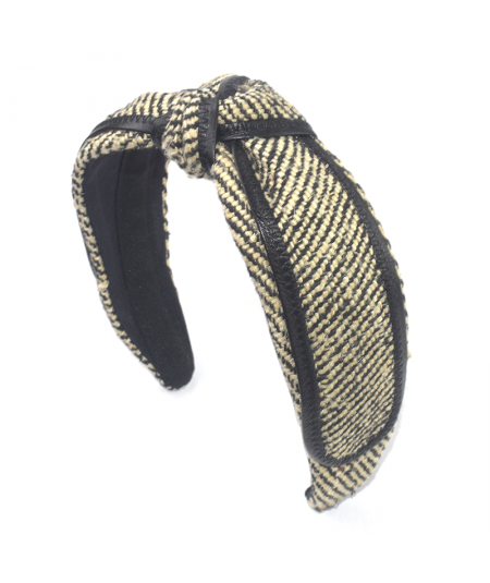 Park Avenue Tweed with Leather Binding Center Turban Headband