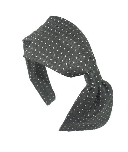 Dotted Silk Big Bow Headband