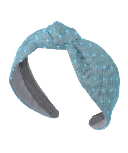 Turquoise Dotted Tulle Harlow Turban Headband
