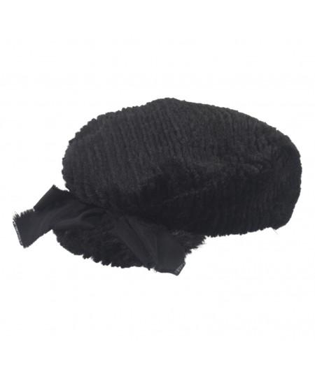Black Stripe Faux Fur Golfer Hat with Grosgrain Bow