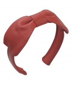 Warm Red Leather Center Bow Headband