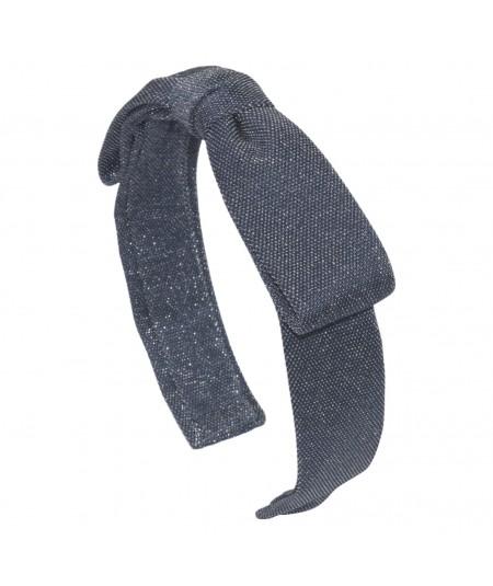 Blue Glitter Bow Headband