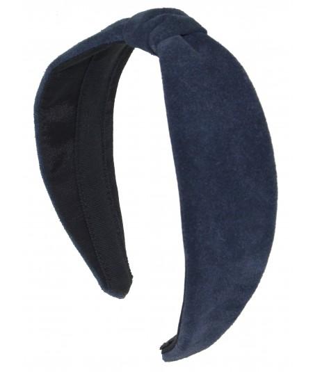 Navy Suede Center Divot Headband
