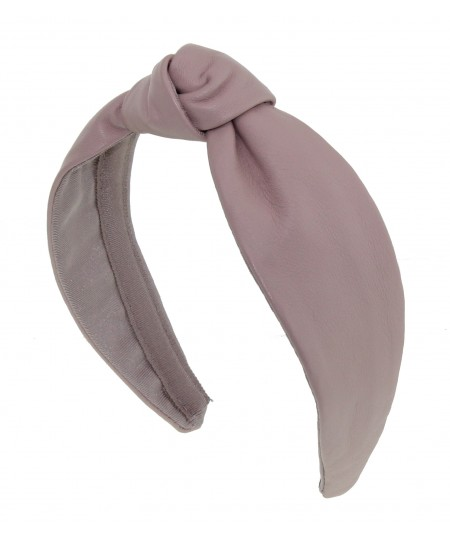 Pale Pink Leather Center Knot Turban