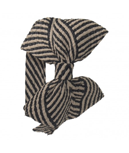 Black/Natural Raffia Bow Headband